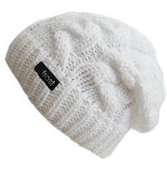 24ca6375b0dc3 Frost Hats Winter Hat for Women WHITE Slouchy Beanie Cable Hat Knitted  Winter Hat Frost Hats