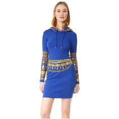 Moschino Hooded Dress (4,065 AED) ❤ liked on Polyvore featuring dresses, fantasy print blue, longsleeve dress, print dress, hooded dresses, graphic print dress and blue jersey