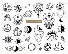 Moon Vector, Vector Art, Vector Icons, Wiccan, Celestial Tattoo, Handpoke Tattoo, Mystic Moon, Witch Tattoo, Clipart