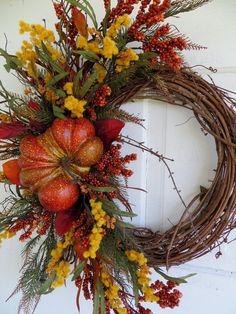 Fall Pumpkin Wreath Fall Wreaths Front Door Wreath Autumn