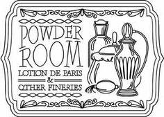 Powder Room Sign | Urban Threads: Unique and Awesome Embroidery Designs