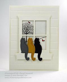 DOstamperSTARS Holiday Cards shared by Dawn Olchefske (Cheryl Owczarek) Dog Cards, Bird Cards, Xmas Cards, Holiday Cards, Pop Up, Window Cards, Animal Cards, Card Making Inspiration, Halloween Cards