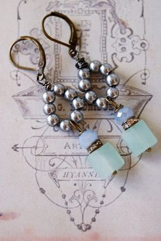Vivian.romantic grey pearsea blue by tiedupmemories on Etsy, $28.00