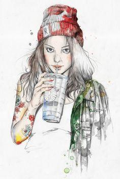 Homegirl – a tattooed girl drinking juice