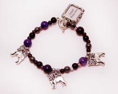 Purple Bead Stretch Bracelet with Pug Dog Charms and Picture Frame Charm by ThisPugLife, $10.50