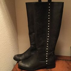 Tall Bling Boots - NWOT Boot 15 inches, 1 1/2inch heel, has worn look but very elegant. Grazie Shoes Heeled Boots