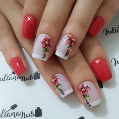 Best Nail Art Designs 2018 Every Girls Will Love These trendy Nails ideas would gain you amazing compliments. Spring Nails, Summer Nails, Red Nails, Hair And Nails, Ongles Roses Clairs, Cute Nails, Pretty Nails, Best Nail Art Designs, Flower Nails