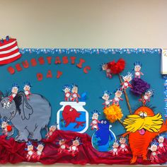 Dr. Seuss characters Bulletin board-A great way to show character during Dr. Seuss month.