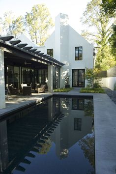 black windows, clean lines of house