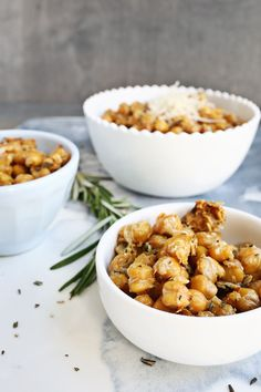 Baked Rosemary Parmesan Chickpeas (click through for recipe)