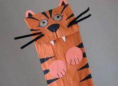 Tiger Paper Bag Puppets Crafts for Kids - Tiger Puppets Paper Bag Kids' Crafts - Kaboose.com