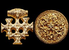 The piece on the left is part of a magnificent gold necklace placed in a leather bag and lost in a Norse shipwreck, and recovered recently.