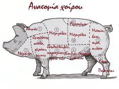 Χοιρινό κρέας: Η ανατομία του και πως να μαγειρέψουμε κάθε κομμάτι του!!! Meat Chickens, My Passion, Moose Art, Cooking, Recipes, Food, My Crush, Kitchen, Essen
