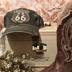 Route 66 Ladies Travel Hat - Accessories - Ballcaps - Vintage and Handmade Prairie Style Goods Travel Hat, Historic Route 66, Vintage Accessories, Hats For Women, Road Trip, Baseball Hats, Trending Outfits, Lady, Handmade