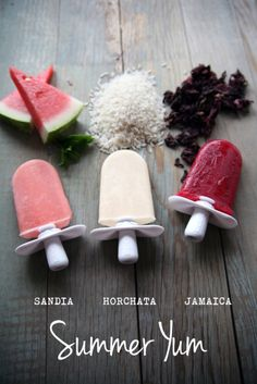watermelon, coconut and blackberry popsicles