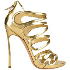 CASADEI Strap Barbarella Oro Sandals (5 370 ZAR) ❤ liked on Polyvore featuring shoes, sandals, heels, sapatos, gold, strappy heel sandals, high heel shoes, cut out sandals, leather sandals and golden sandals