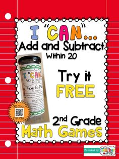 "FREEBIE!!! This ""I CAN"" Math game covers all standards for ADDING & SUBTRACTING within 20 in 2nd grade. Perfect for Guided Math & Test Prep! {Common Core}"