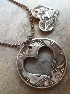 1974 40th birthday 40 years heart necklace hand made recycled from a half dollar coin on antiqued ball chain