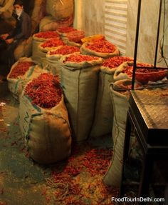 Red Chillies section of Old Delhi's spice market  #citywalk #foodwalk