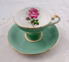 Green Aynsley Tea Cup and Saucer with Pink Rose, Corset Shape, Vintage Bone China