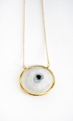 White Solar Quartz Bezel Necklace
