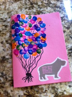 Birthday Card from infant/toddler: thumbprint balloons!
