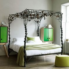 Modern bedroom pictures and photos for your next decorating project. Find inspiration from of beautiful living room images Forest Bedroom, Garden Bedroom, Dream Bedroom, Girls Bedroom, Master Bedroom, Bedroom Modern, Nature Bedroom, Ivory Bedroom, Narrow Bedroom