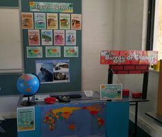 My travel agent role play corner using resources from twinkl.co.uk.