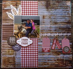 """Kaisercraft """"Old Mac"""" Scrapbook Page Layouts, Scrapbooking Ideas, Scrapbook Pages, Farm Layout, Heart Flower, General Crafts, Flower Market, Country Farm, Close To My Heart"""