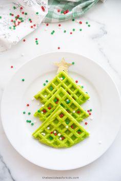 Christmas Tree Waffles Christmas Trees For Kids, Christmas Activities For Kids, Simple Christmas, Xmas, Christmas Sprinkles, Christmas Treats, Christmas Foods, Christmas Breakfast, Breakfast For Kids