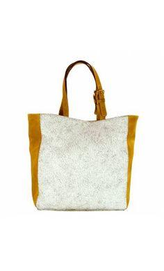 sac shopping made in france cuir bicolore ocre jaune et cuir effet craquel blanc uyuni 5