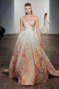 Green Wedding Shoes reports on Fall NY Bridal Fashion Week 2020 with the trendiest wedding dress styles for like this metallic Danae Gown by Lazaro wedding dresses 2020 Our Favorite 2020 Wedding Dress Trends from NY Bridal Fashion Week Lazaro Wedding Dress, Lazaro Bridal, Green Wedding Dresses, Luxury Wedding Dress, Wedding Dress Trends, Bridal Wedding Dresses, Wedding Dress Styles, Bridal Style, Wedding Shoes