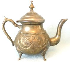 Vintage Collectible Eastern Teapot, Silver Plated, Distressed Look, Chic Decor, Footed Teapot, Persian Tea, Decorative Pot, Nice Decoration by AToasttothePast on Etsy https://www.etsy.com/listing/244633382/vintage-collectible-eastern-teapot