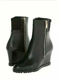 8efa50838261 New Michael Kors Aileen Wedge Black Sz 7.5 Leather Ankle Booties Boots   MichaelKors  Booties