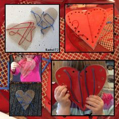 Hand sewing helps a child develop his fine motor skills.  I love the uniqueness of sewing in the shape of a heart!