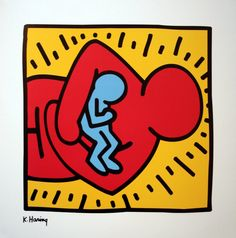 Keith Haring Drawings   Keith HARING : Sans Titre 1986 (Maternité)