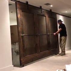 Rustic Home Living - Barn Door Designs ? Yes or no for your home❓? Basement Doors, Basement Living Rooms, Rustic Basement, Basement Master Bedroom, Man Cave Basement, Basement Lighting, Basement Apartment, Apartment Ideas, Basement Makeover