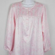05a0f14a0 (eBay Ad) Miss Elaine Brushed Nightgown Womens S Pink Polycotton Satin  Paisley Long Slv