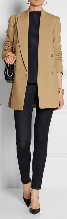 Michael Kors double-breasted, camel jacket over all black