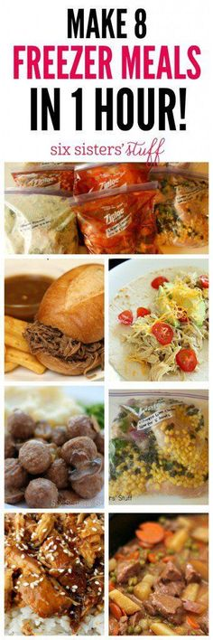 Make 8 Freezer Meals in 1 Hour on http://SixSistersStuff.com