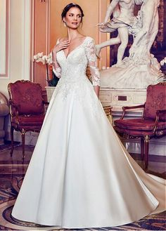 Fascinating Tulle & Satin V-neck Neckline A-line Wedding Dress With Beaded Lace Appliques & Pockets