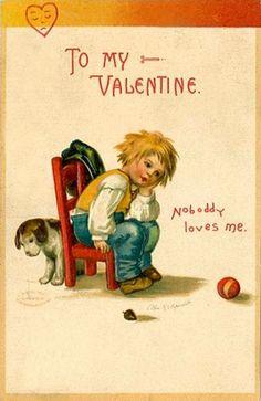 """Noboddy"" (sic) loves me"" Sweet sad Valentine card.   For scrapbooking, altered art, gift tags, framing, cards.  Vintage Valentine Postcard by Suzee Que, via Flickr"