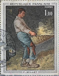 """A Winnower"" by Jean-François Millet . Post stamp printed in France 1971"