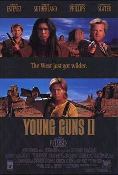 Watch Young Guns II full hd online Directed by Geoff Murphy. With Emilio Estevez, Kiefer Sutherland, Lou Diamond Phillips, Christian Slater. In cattle baron John Chisum pays a bounty to Emilio Estevez, Christian Slater, 2 Movie, Love Movie, Movie Sequels, Movies Showing, Movies And Tv Shows, Cinema Posters, Movie Posters