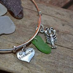 """"""" Alex and Ani """" inspired bracelet. Godmother, green Genuine Irish Seaglass and lobster charm bracelet. All Seaglass and sea pottery has been found and drilled by me. Sea Glass Jewelry, Irish, Pottery, Jewellery, Bracelets, Silver, Etsy, Ceramics, Bangles"""