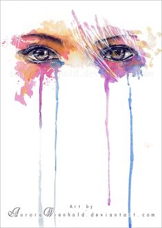 Rainbow Tears by =AuroraWienhold; Traditional Painting - Watercolors and Ink.