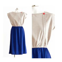 1980s taupe and blue dress with red heart detail button by TimeTravelFashions on Etsy