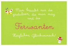 Lustige Postkarte – Man braucht nur die gratuliren, die man mag und di Ferwanten. Herzlichen Glückwunsch!
