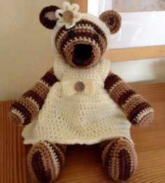 Brown Bear Crocheted Bear in a Dress Crocheted by BlueShedCrafts