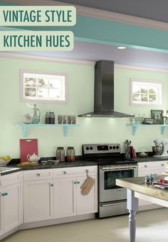 Want to add vintage style to your updated kitchen? Use a pastel BEHR paint palette in Spearmints green, Confetti purple, and Tropical Waterfall blue to give your space a light and airy vibe.